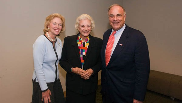 Colleagues in the mission to strengthen civics education in our schools: Judge Marjorie Rendell, Justice Sandra Day O'Connor, and Governor Ed Rendell at a PennCORD conference in 2004.