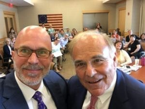 Michael Smerconish, Political Broadcast Journalist and Columnist, poses with former PA Governor Ed Rendell and teachers following one of the 2017 Institute sessions