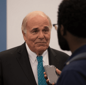 Former Governor Ed Rendell is interviewed by a member of the media