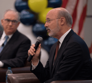 PA Governor Tom Wolf addresses the forum audience